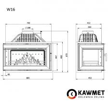 Каминная топка KAWMET W16 с правым боковым стеклом без рамы (14.7 kW). Фото 5