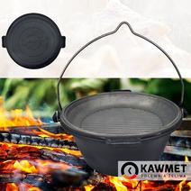 Чугунный казан (котелок) походный KAWMET 9л с крышкой сковородой гриль