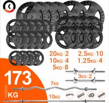 Штанги + гантели + нагрузка 150 кг KAWMET. Набор 173кг для кросфиту и воркауту