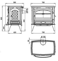 Чугунная печь Dovre 760 CB/E10 глянцевый черный. Фото 2