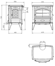 Чугунная мульти печь Dovre 640 GM/E10 глянцевый черный. Фото 3