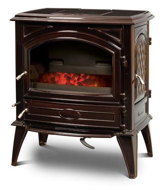 Печь камин чугунная DOVRE 640 GK на углях коричневая майолика