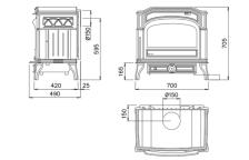 Чугунная мульти печь Dovre 750 GM/E6 коричневая майолика. Фото 2