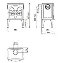Чугунная печь Dovre 550 CB/E10 глянцивый черный. Фото 3