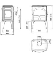 Чугунная мульти печь Dovre 555 GM/E10 глянцевый черный. Фото 2