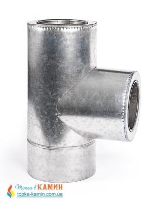Тройник с нержавеющей стали в оцинкованном кожухе двустенный (0.5мм) 87° от Ø100/160