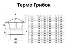 Грибок для  дымохода с нержавеющей стали двустенный (0,5мм) от Ø100/160. Фото 3
