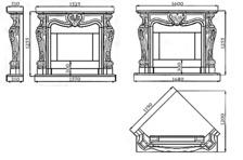 Портал для камина (облицовка) Фантазия из натурального мрамора Botticino. Фото 5