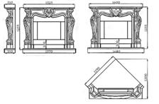 Портал для камина (облицовка) Фантазия из натурального мрамора Botticino. Фото 2