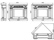Портал для камина (облицовка) Континенталь из натурального мрамора Botticino. Фото 2