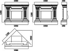 Портал для камина (облицовка) Афины из натурального мрамора Bianco Carrara. Фото 2