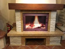 Портал для камина (облицовка) Шешоры из натурального мрамора Giallo reale antic,плитка білий мармур + дубова бал. Фото 3