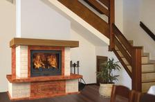 Портал для камина (облицовка) Верона с балкой, прямая, из натурального мрамора  Rosso Asiago, плитка Travertine