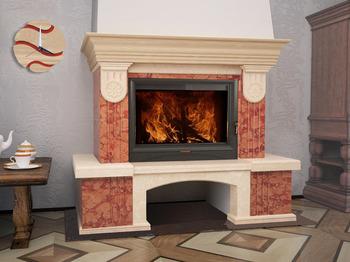 Портал для камина (облицовка) Болония из натурального мрамора  Rosso Asiago, Botticino