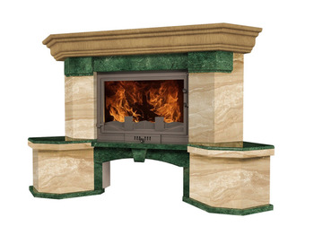 Портал для камина (облицовка) Флоренсия из натурального мрамора Verde Guatemala, Daino Reale