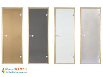 Стеклянные двери для сауны Harvia 80х210 бронза коробка ольха/ель