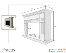 Портал для камина (облицовка) Foks Drev Arezzo для каминных топок Dimplex (белый). Фото 2
