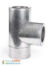Тройник с нержавеющей стали в оцинкованном кожухе двустенный (1мм) 87° от Ø110/180