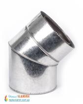 Колено с нержавеющей стали двустенное в оцинкованном кожухе (1мм) 45° Ø100/160