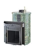 Дровяная печь для бани Ферингер Ламель Мини облицовка Жадеит (закрытая каменка)16 м3