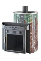 Дровяная печь для сауны Ферингер Ламель Макси Жадеит + Россо Леванте Обрамление Металл(открытая каменка) 30 м3