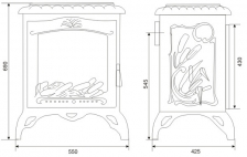 Печь камин чугунная INVICTA Chambord красная. Фото 6